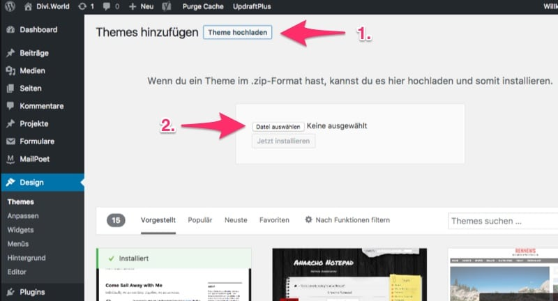 WordPress: Child Theme hochladen, Schritt 2