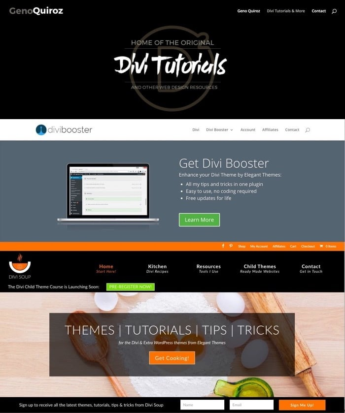 Homepages für Divi Blogs und Tutorials