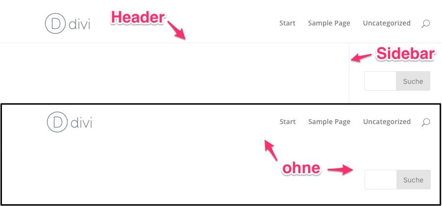 WordPress Divi Theme: Sidebar und Header Linie entfernen