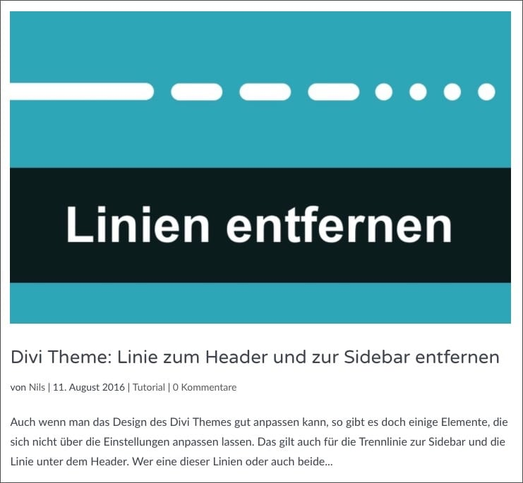 Divi Theme: Default Blogansicht