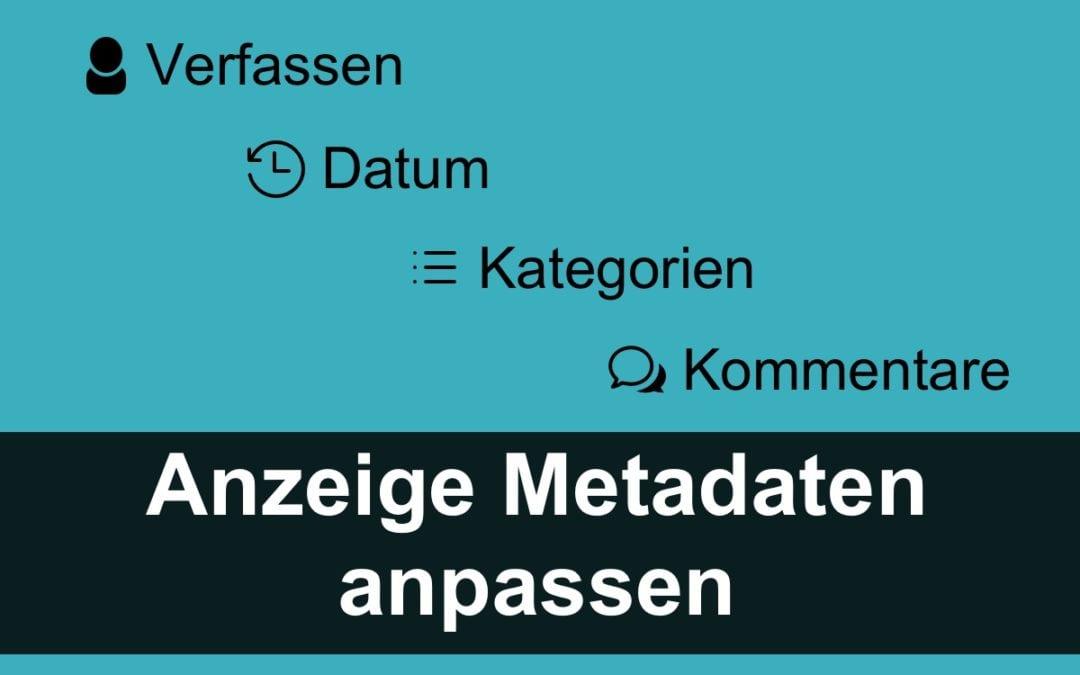 Anzeige der Metadaten anpassen