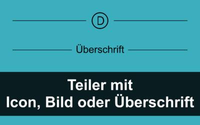 Hingucker: Teiler mit zentriertem Bild, Icon, Text