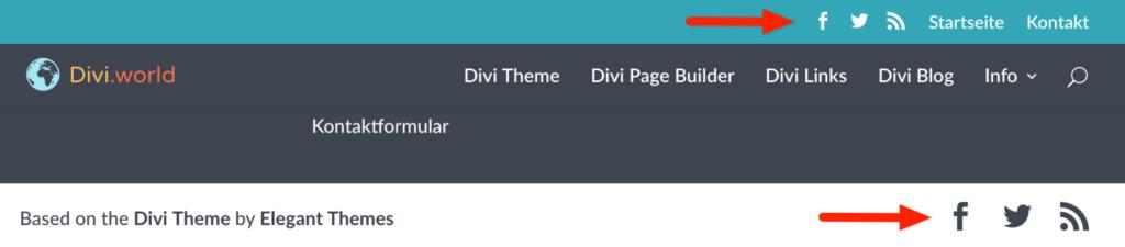 Divi Theme: Symbole für soziale Netzwerke