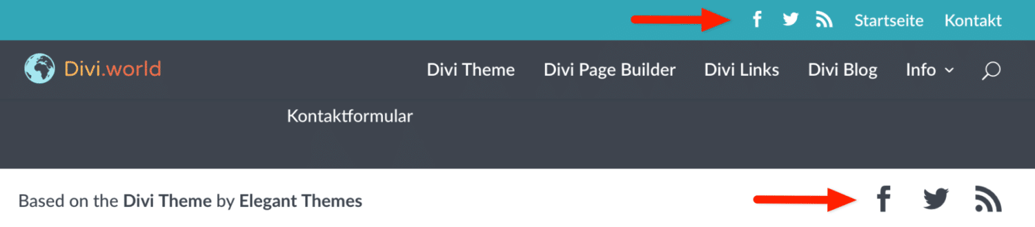 Divi Theme Social Icons in Header und Footer
