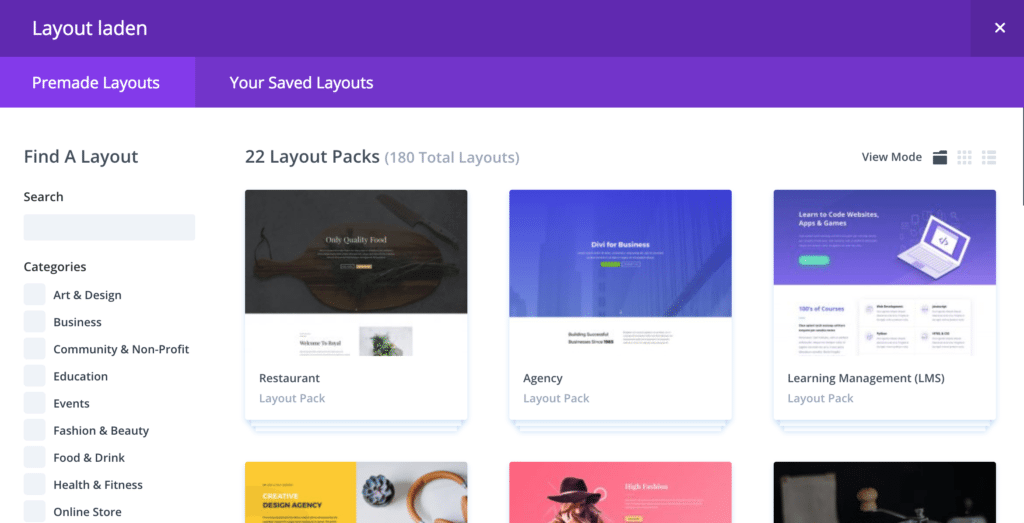 Divi Theme Test: Layouts