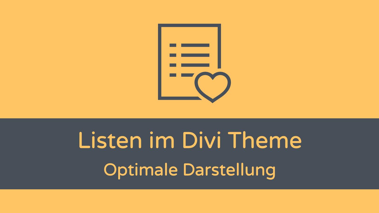 Divi Theme Listen Darstellung Problem