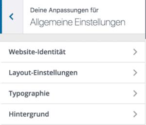 Divi Theme Customizer: Allgemeine Einstellungen