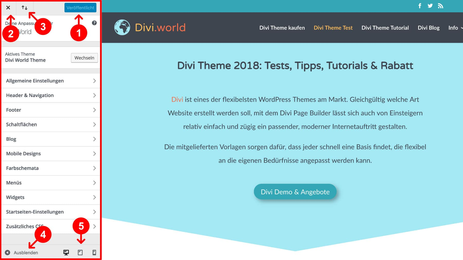 Divi Theme Einstellungen Customizer
