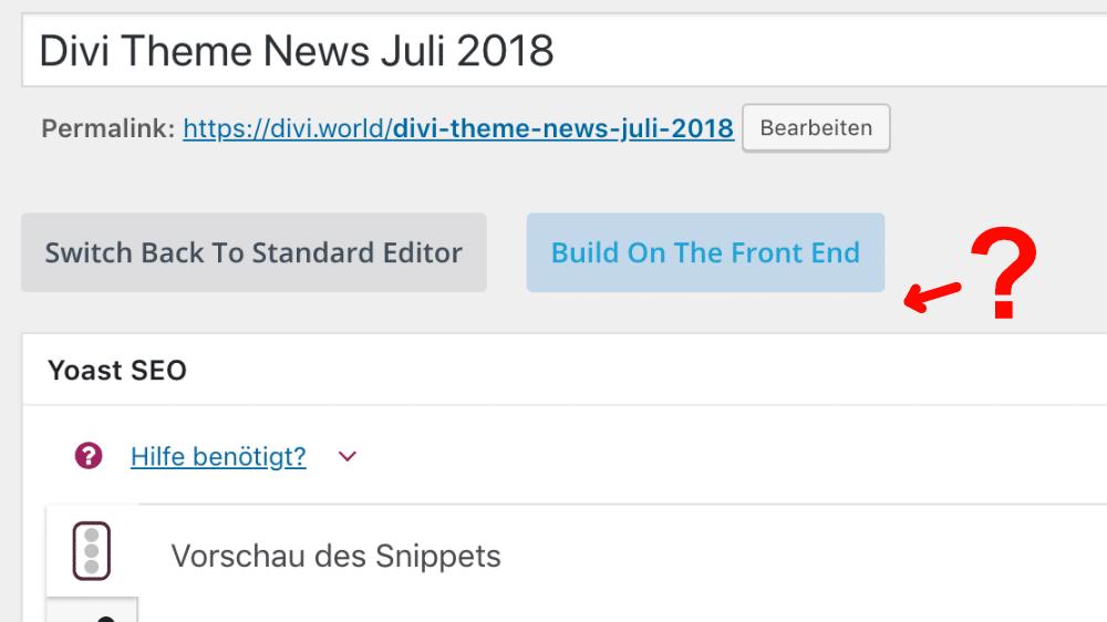Fehlender Divi Backend Editor
