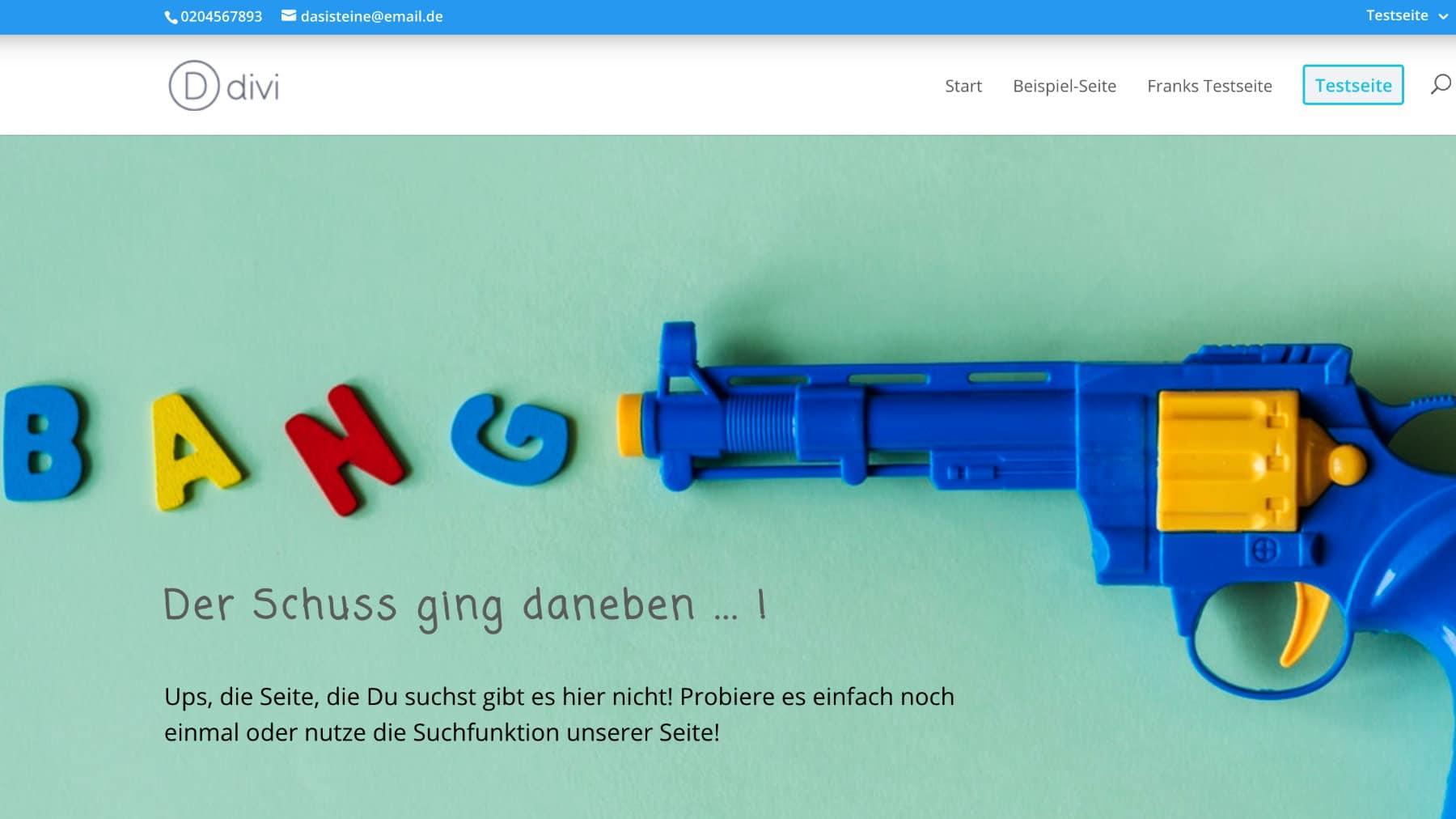 Divi Toolbox 404 Fehlerseite