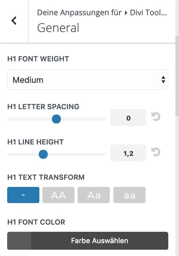 Divi Toolbox Designmodifikator Einstellungen Überschriften