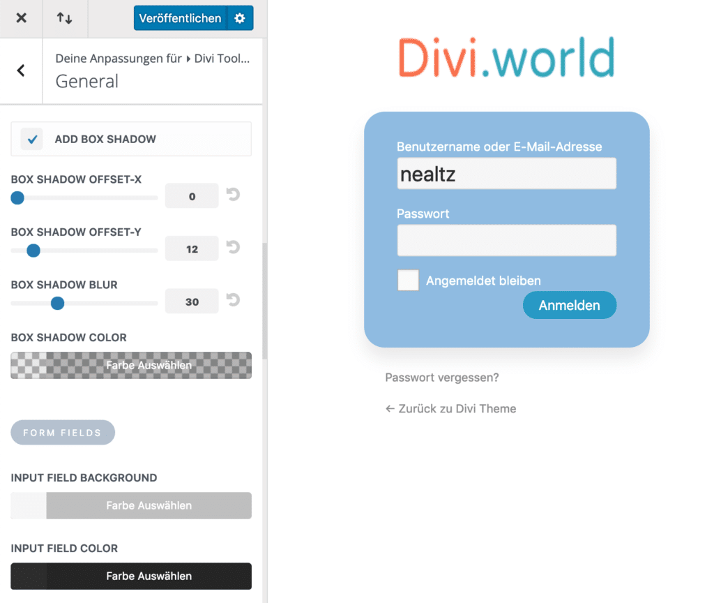 Divi Toolbox Login Page