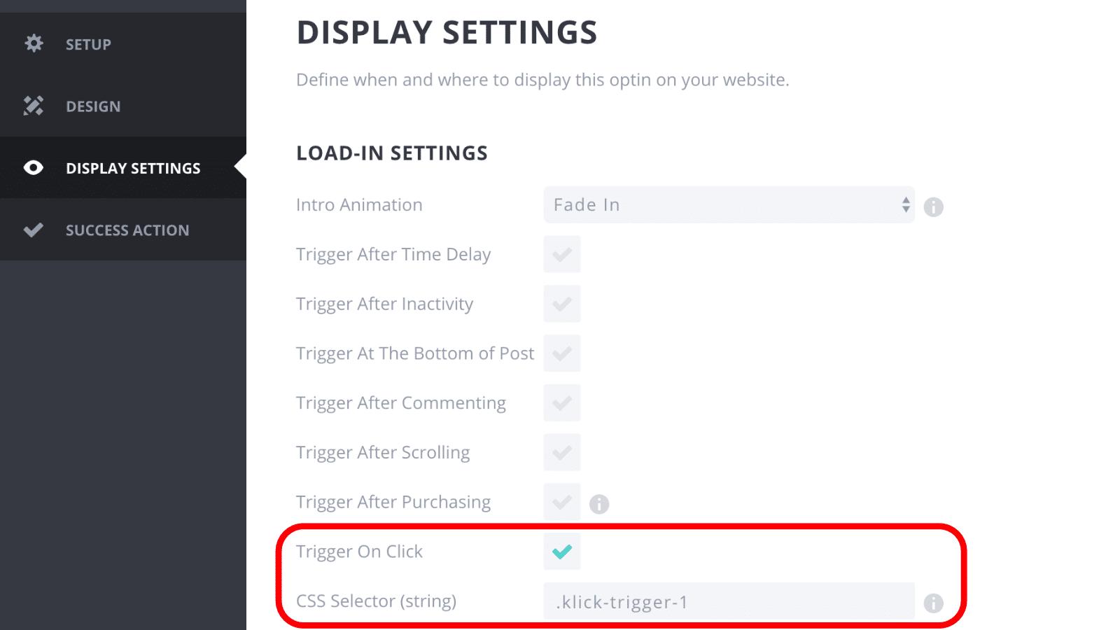 Bloom Plugin Click Trigger CSS Selector