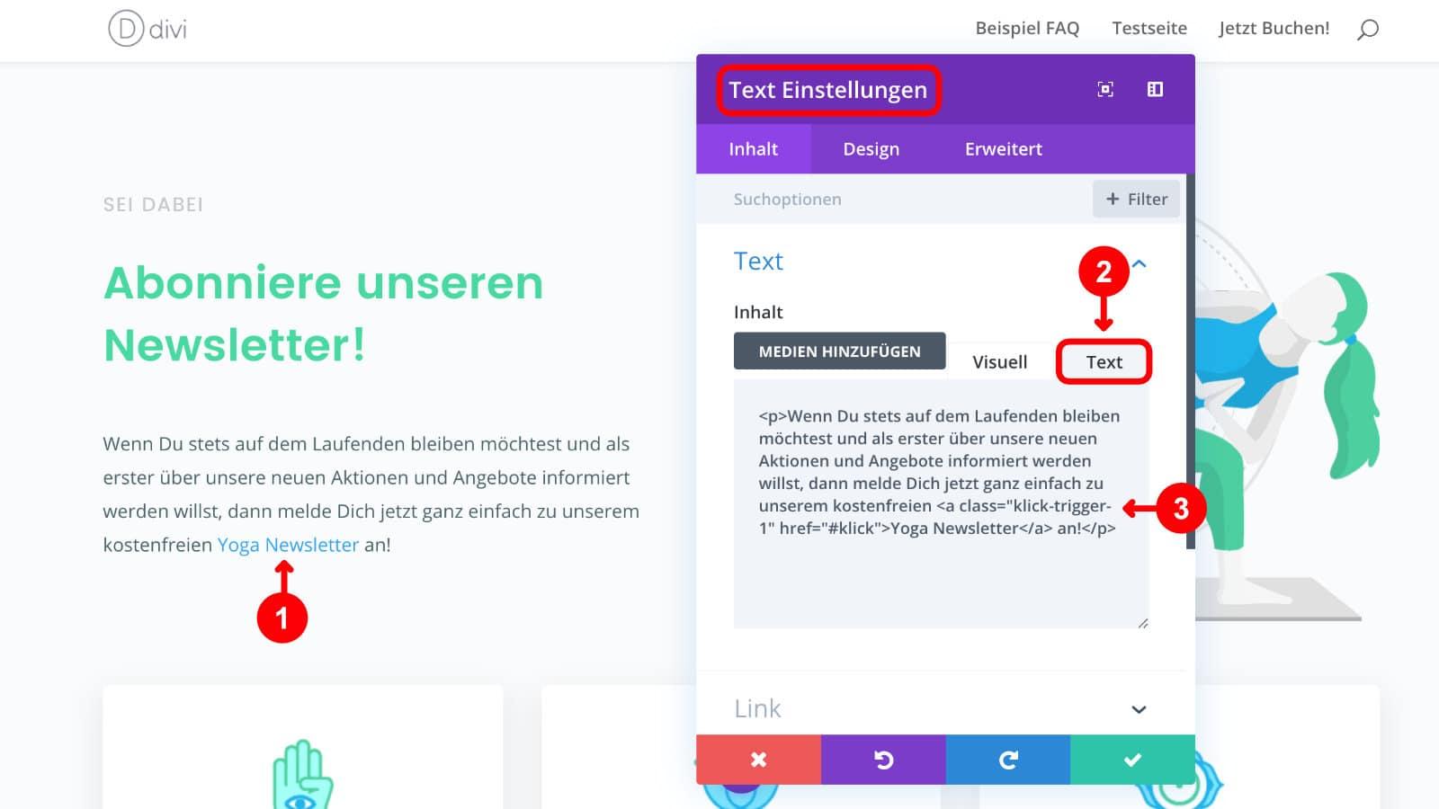 Bloom Plugin Click Trigger Textlink