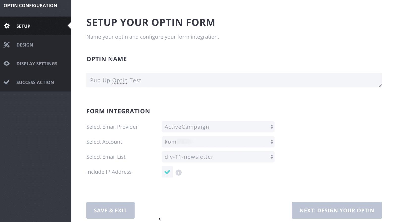 Bloom Popup Plugin Form Integration