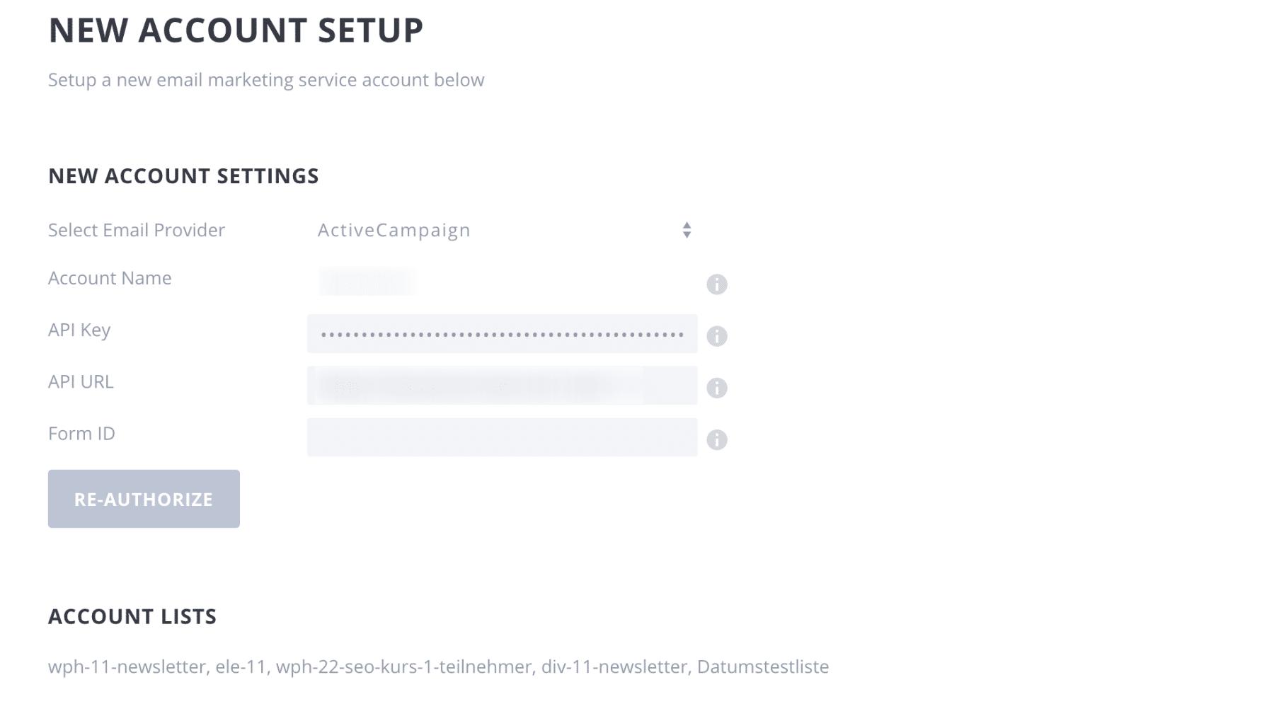 Bloom Popup Plugin Test Account Settings