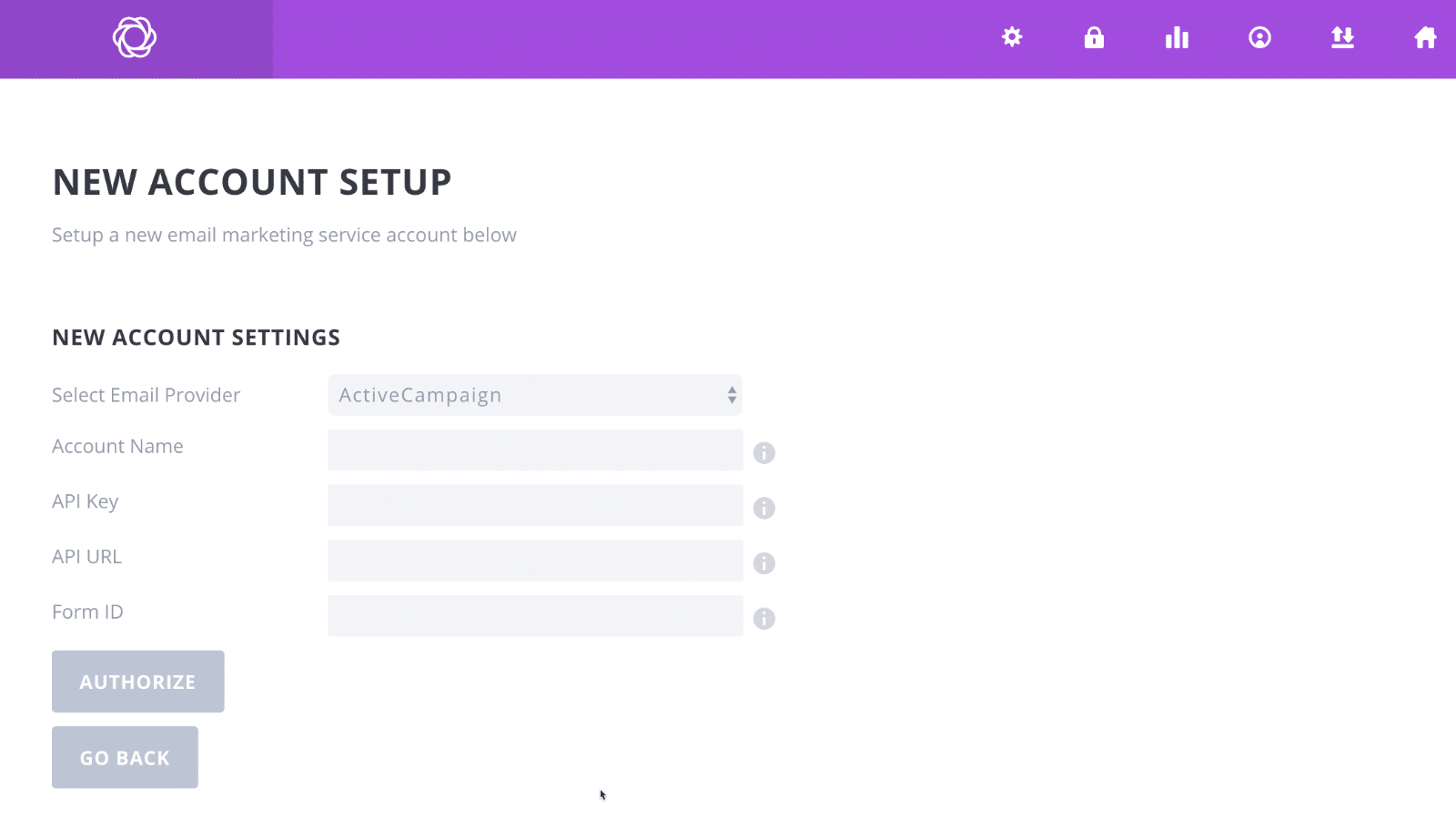 Bloom Popup Plugin Test Account Setup