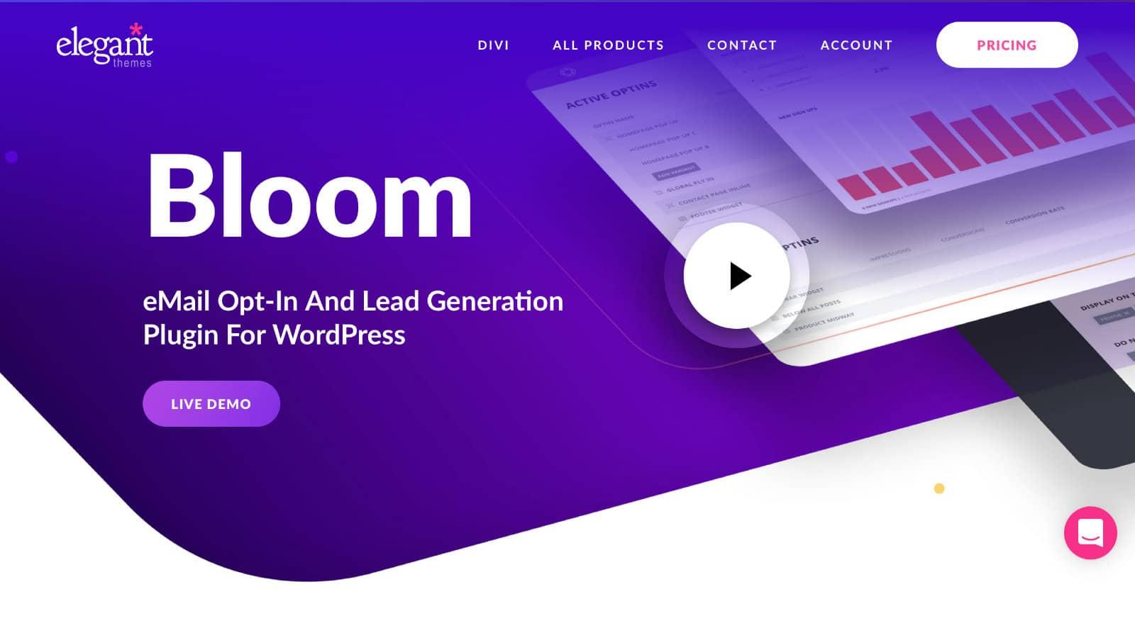 Bloom Popup Plugin: Website Screenshot