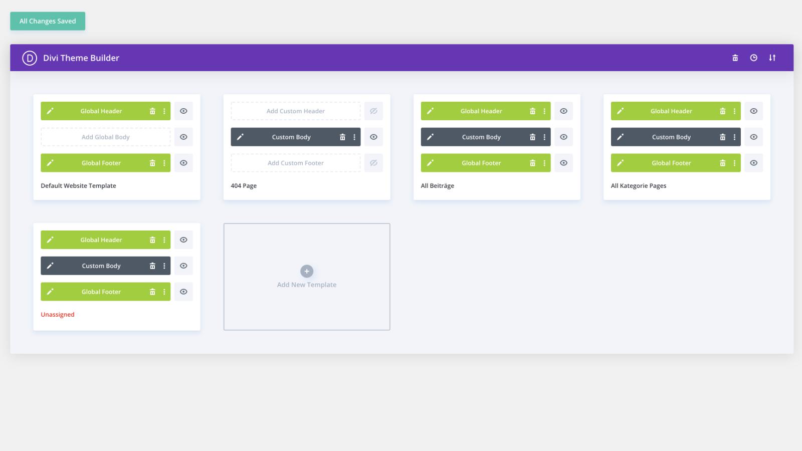 Divi Theme Builder: importierte Layouts