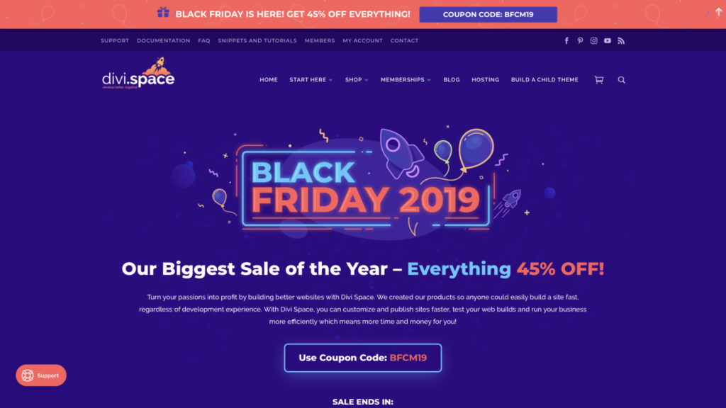 Divi Space Black Friday Rabatt
