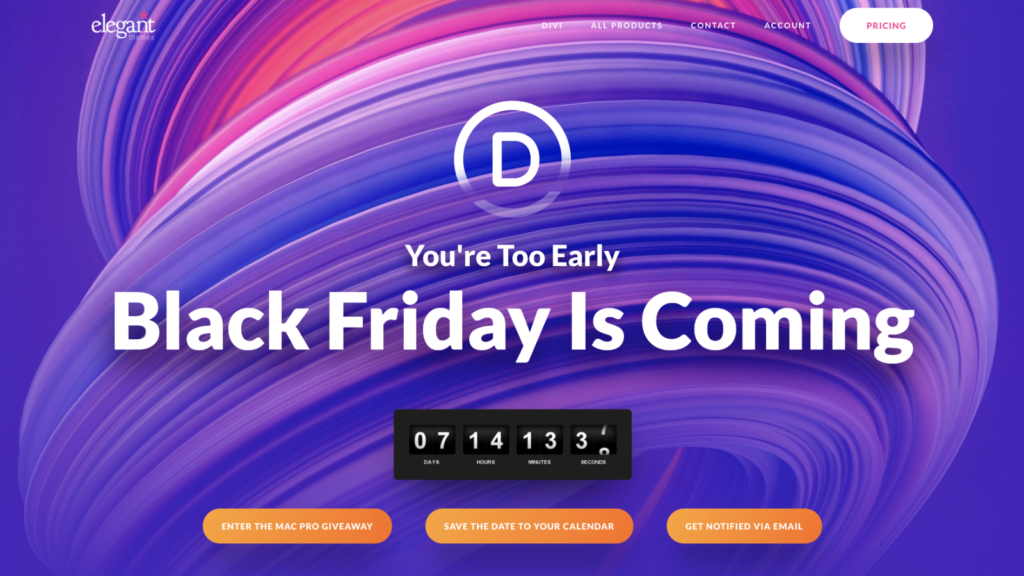 Divi Theme Black Friday Cyber Monday