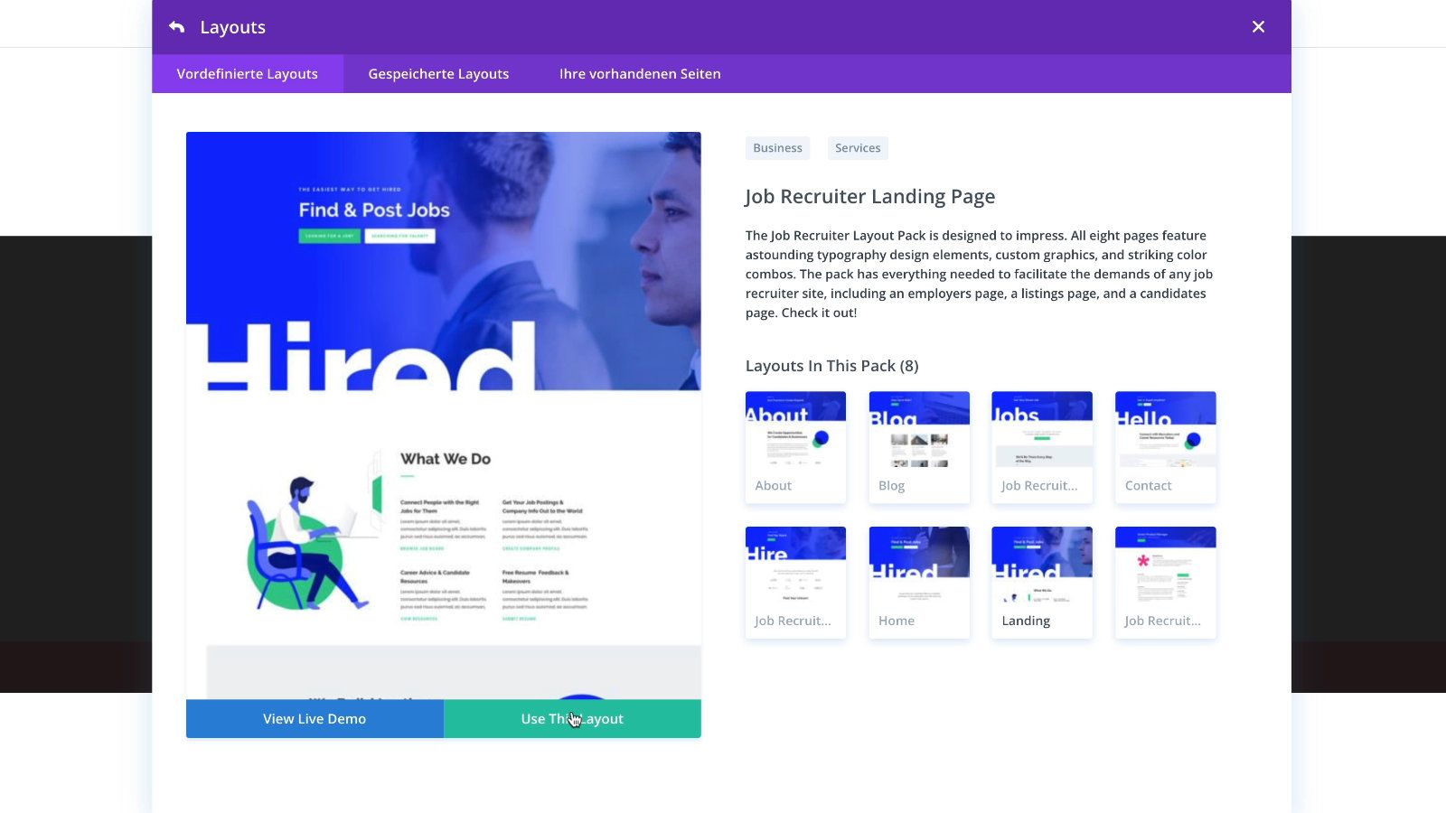 Divi Theme Job Recruiter Layout Landingpage