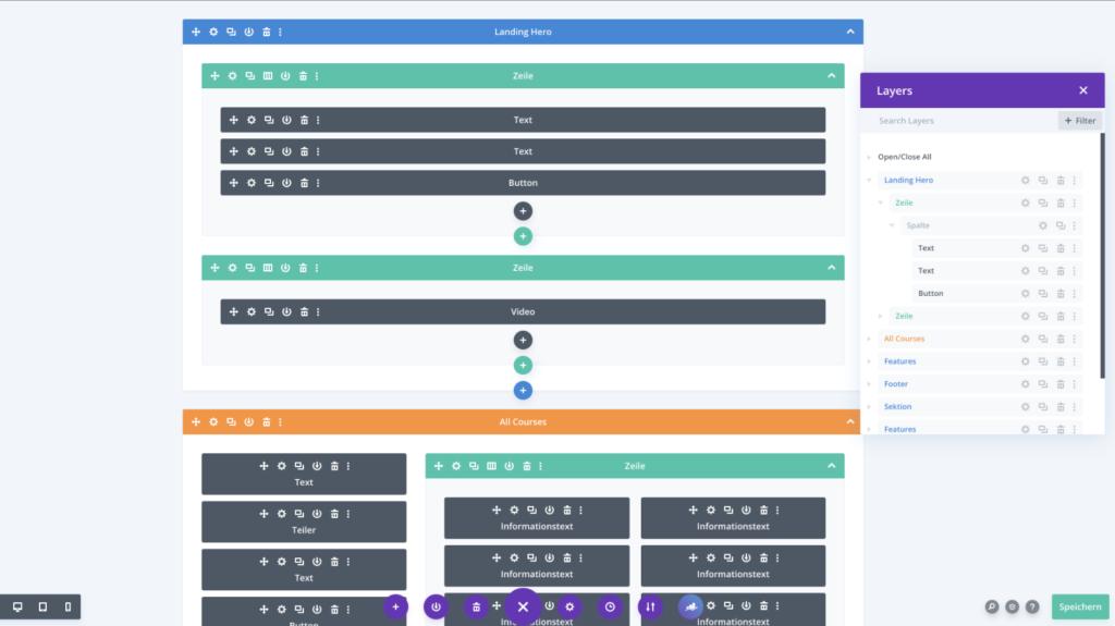 Divi Theme Page Builder: Wireframe und Layers Ansicht